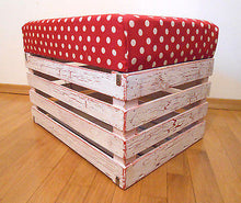 Wooden Shabby Chic Pouf Ottoman Apple Crate Storage Box Handmade Polka Dot Pouf - Handcrafted Wood, Iron & Copper