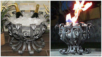 Hand Forged Wine Cooler or Burner Bowl with Stainless Steel Bowl 47cm-18.5'' - Handcrafted Wood, Iron & Copper