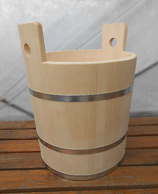 Wooden Canister Tub Bucket Wood Firkin Metal Bands 36 Liter 9.6 Gallon - Handcrafted Wood, Iron & Copper