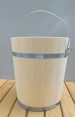Wooden Tub Bucket Pail Wooden Firkin Metal Bands 12 Liters 3.3 Gallon - Handcrafted Wood, Iron & Copper