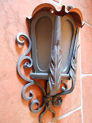 Hand forged wrought iron outdoor lamp light wall mount w copper hand forged wrought iron outdoor lamp light wall mount w copper roof handcrafted wood aloadofball Image collections