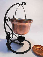 Food Warmer Copper Cauldron Pot w/ Hand Forged Stand  2 Lit - 0.5 Gal - Handcrafted Wood, Iron & Copper