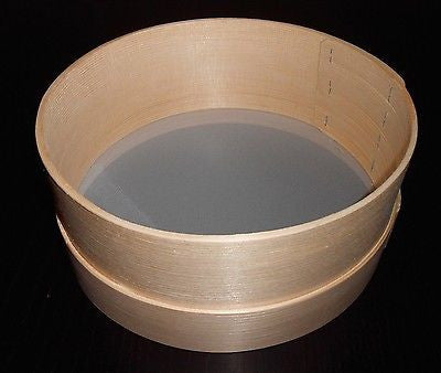 Wooden Flour Sifter Sieve Traditional Diameter 28cm 11inch - Handcrafted Wood, Iron & Copper