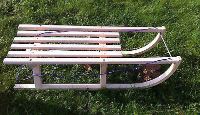 Children's Snow Sleds Sleigh Sledge Toboggan Wooden Winter Seat Bob 36 inches 91cm - Handcrafted Wood, Iron & Copper