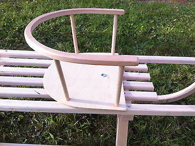 Children's Snow Sled Sleigh Sledge Back Rest Wooden Sled Safety Seat JUST SEAT - Handcrafted Wood, Iron & Copper