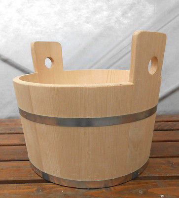 Wooden Canister Tub Pail Bucket Wood Metal Bands 23 Liter 6.1 Gallon - Handcrafted Wood, Iron & Copper