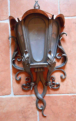 Hand Forged Wrought Iron Big Outdoor Lamp Light w/ Copper Roof Wall Mount 29