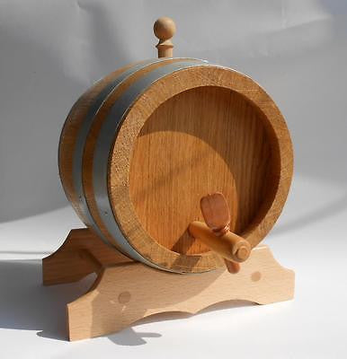European Oak Barrels for Wine, Whiskey, Spirits Handmade 5 Liter 1.3 US Gal - Handcrafted Wood, Iron & Copper