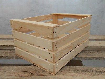 New Natural Wooden Farm Solid Apple Fruit Crate Bushell Craft Box Medium - Handcrafted Wood, Iron & Copper