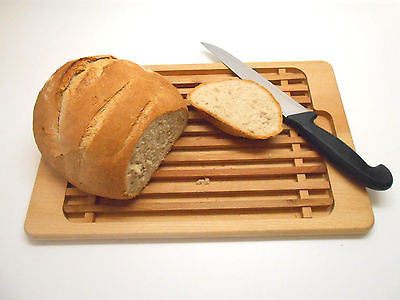 Wooden Bread Cutting Board Crumb Catcher Board Bread Cutting Slicing Plate - Handcrafted Wood, Iron & Copper