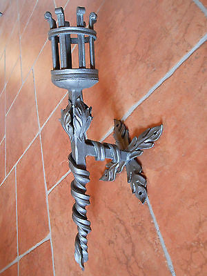 Hand Forged Wrought Iron Torch Wall Mounted Handmade Candlestick 23
