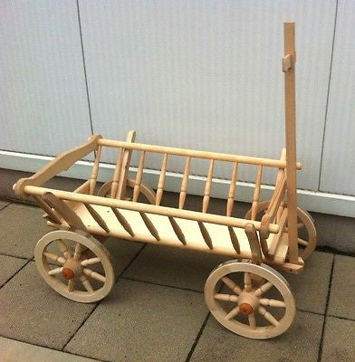 Wooden Farm Wagon Goat Cart New Handmade 90cm - 35 inch Long - Handcrafted Wood, Iron & Copper