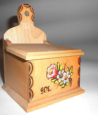Wooden Salt Cellar Box Hand Painted Storage Box Wall Mounted Traditional - Handcrafted Wood, Iron & Copper