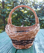 "Hand Crafted Quality Woven Natural Wicker Basket w/ Loop Handle Decor Floral 10"" - Handcrafted Wood, Iron & Copper"