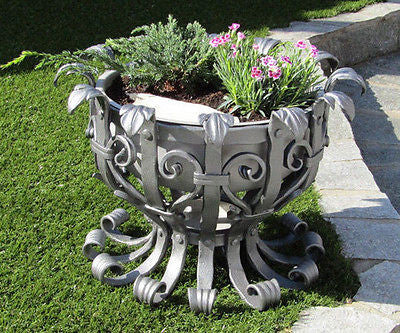Hand Forged Flower Planter with Stainless Steel Basket 47cm-18.5'' - Handcrafted Wood, Iron & Copper