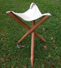 "Tripod Wooden Folding Stool Chair Leather Seat Fishing Hunting Hiking 50cm-19"" - Handcrafted Wood, Iron & Copper"