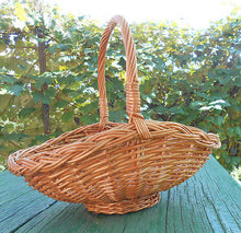 "Hand Crafted Woven Natural Wicker Basket w/ Loop Handle Decor Floral 14"" - Handcrafted Wood, Iron & Copper"