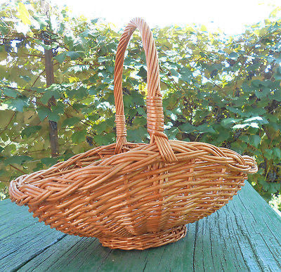 Hand Crafted Woven Natural Wicker Basket w/ Loop Handle Decor Floral 14