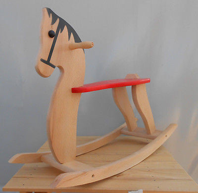 Wooden Rocking Horse Baby Kids Toddler Children's Ride on Toy Wood Riding - Handcrafted Wood, Iron & Copper