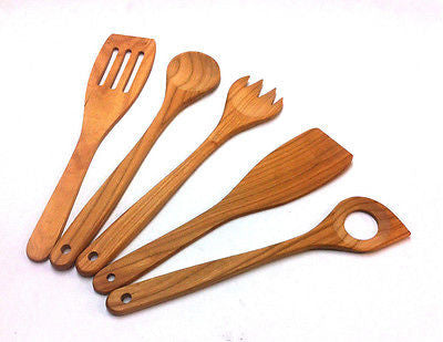 Cherry Wood Spatula Set 5 pcs Cooking Kitchen Utensils - Handcrafted Wood, Iron & Copper