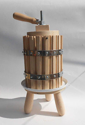 Wooden Wine Press Grape Crusher Apple Cider Fruit Juice Press 10 Liter 2.6 Gal - Handcrafted Wood, Iron & Copper