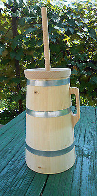 Wooden Butter Churn Dasher with Plunger and Lid Handmade 3 Liter 0.8 Gallon - Handcrafted Wood, Iron & Copper