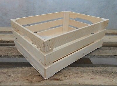 New Natural Wooden Farm Solid Apple Fruit Crate Bushell Craft Box - Handcrafted Wood, Iron & Copper