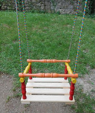 Wooden Hanging Rope Swing Chair Kids Children Seat with Safety Strap 3-12 y - Handcrafted Wood, Iron & Copper
