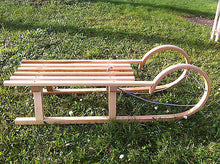 Children's Snow Sleds Sleigh Sledge Wooden Winter Seat Bob Horned 40 inches 102cm - Handcrafted Wood, Iron & Copper