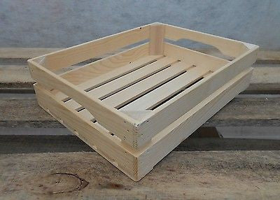 New Natural Wooden Farm Solid Apple Fruit Crate Bushell Craft Box Low - Handcrafted Wood, Iron & Copper