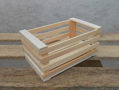 New Natural Wooden Farm Solid Apple Fruit Crate Bushell Craft Box Small - Handcrafted Wood, Iron & Copper