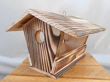 Wood Birds House Feeder Garden Yard Hanging Birdhouse Bird Table Robust Handmade - Handcrafted Wood, Iron & Copper