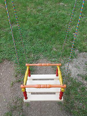 Wooden Hanging Rope Swing Chair Kids Children Seat With Safety Strap