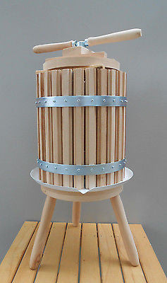 Wooden Wine Press Crusher Traditional Spindle Fruit Juice Press 30 Liter - 7.9 Gallon - Handcrafted Wood, Iron & Copper