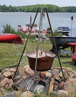 Hand Made Copper Cauldron Picnic Kettle Campfire Pot 25 liter 6.6 Gallon - Handcrafted Wood, Iron & Copper