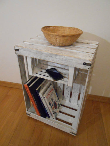 Wooden Shabby Chic Distressed Night Table Bedside Display Stand Crate Shelves Handmade - Handcrafted Wood, Iron & Copper