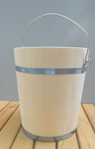 Solid Wood Bucket Pail Wooden Firkin w/ Metal Bands 6 Liter 1.6 Gallon - Handcrafted Wood, Iron & Copper