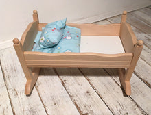 Children's Wooden Dolls Rocking Bed with Bedding and Pillow - Handcrafted Wood, Iron & Copper
