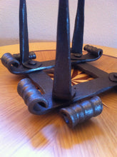 Hand Forged Candlestick Candle Holder 4 Candles Advent Decoration Square - Handcrafted Wood, Iron & Copper