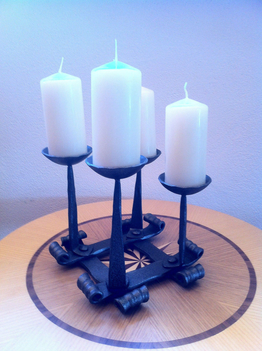 Hand Forged Candlestick Candle Holder 4 Candles Advent Decoration Squa Wood Iron Copper Craft