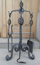 Luxury Hand Forged Fireplace Tools Set Handmade 4 Pieces Set 68cm - Handcrafted Wood, Iron & Copper