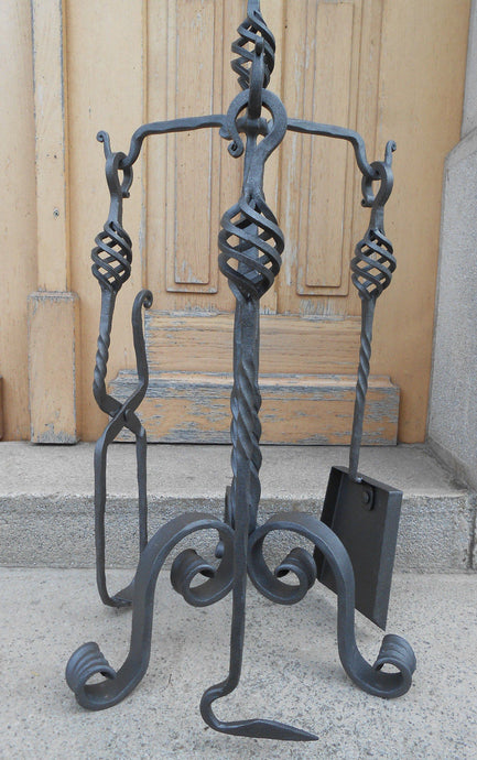Hand Forged Fireplace Tools Set  Wrought Iron Handmade 4 Pieces Stove Set - Handcrafted Wood, Iron & Copper