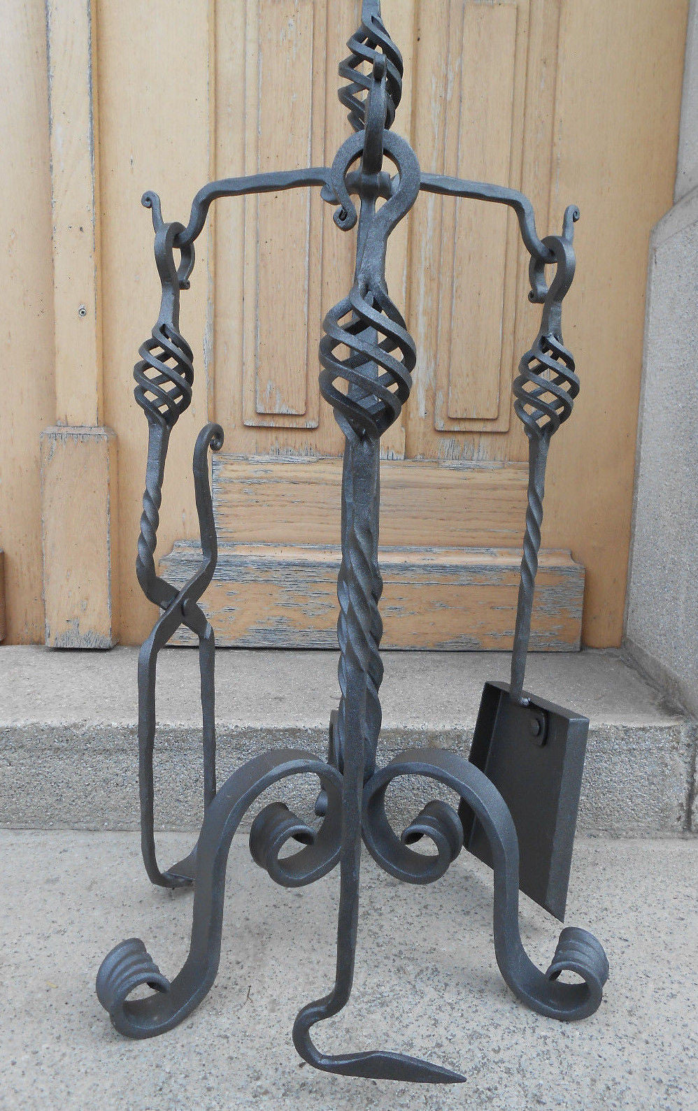 Luxury Hand Forged Fireplace Tools Set Handmade 4 Pieces Set