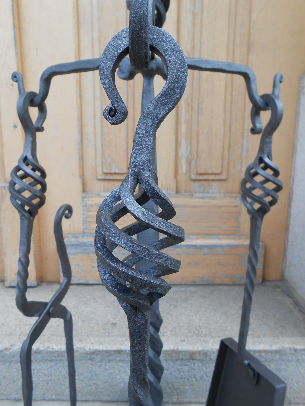 Hand Forged Fireplace Tools Set Wrought Iron Handmade 4