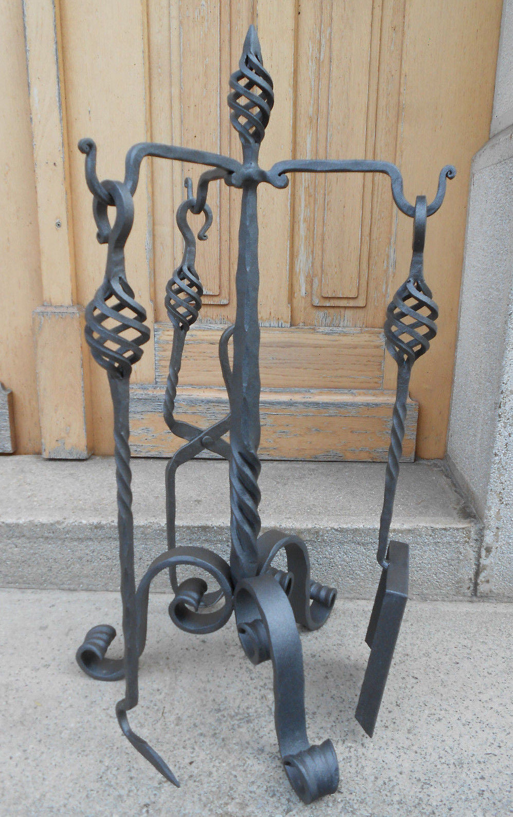 ... Hand Forged Fireplace Tools Set Wrought Iron Handmade 4 Pieces Stove  Set   Handcrafted Wood, ...