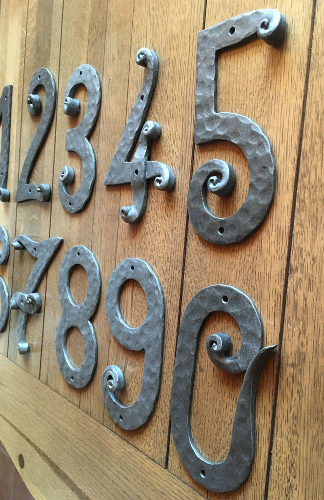 Hand Forged Wrought Iron House Numbers From 0 9 Height 8 4 Handmade Wood Iron Copper Craft