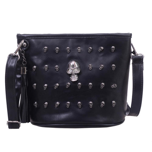 Skull Design Women Messenger Bags Handbags Shoulder Bag Satchel Clutch Black PU Leather Crossbody Bag - Handcrafted Wood, Iron & Copper