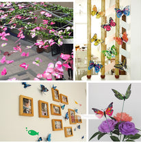 12Pcs Mixed Color Double Layer Butterfly 3D Wall Sticker for Decoration Butterflies Fridge Stickers Home Decor - Handcrafted Wood, Iron & Copper