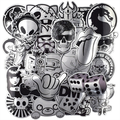 50 Pcs Metallic Black and White Stickers Graffiti Sticker for Laptop Luggage Car Styling Wall Guitar Cool Stickers - Handcrafted Wood, Iron & Copper