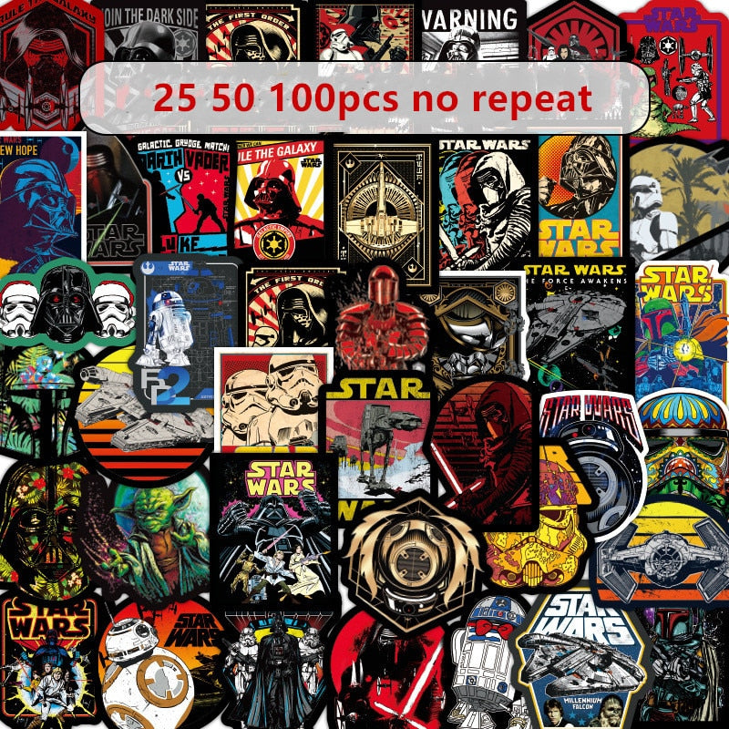 50-100pcs Star Wars Stickers Skateboard Motorcycle Fridge Laptop Decal - Handcrafted Wood, Iron & Copper
